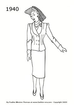1940 fashion history suit silhouette
