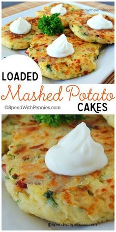 You Have Meals Poisoning More Normally Than You're Thinking That Loaded Mashed Potato Cakes These Are An Amazing Way To Use Up Mashed Potatoes. Also, You Can Add So Many Delicious Things To These, The Possibilities Are Endless Potato Dishes, Vegetable Dishes, Vegetable Recipes, Food Dishes, Vegetarian Recipes, Cooking Recipes, Healthy Recipes, Side Dishes, Skillet Recipes
