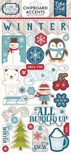 Echo Park I Love Winter Chipboard Stickers