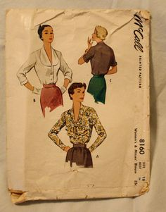 McCall 8160 Vintage 1950s Blouse Sewing by EleanorMeriwether, $8.00
