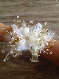 Feather Crystal Corsage with gold accents