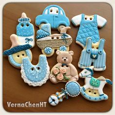 Verna Chen HT: baby boy collection of decorated sugar cookies for shower ~ teddy bear, rattle, bib, VW car