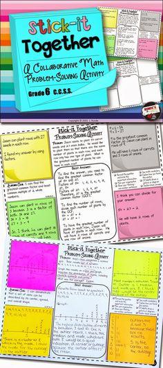 Collaborative Problem Solving Activity for Grade 6 Common Core