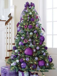 Pretty Christmas Trees Christmas Tree Purple And Silver  Christmas  Pinterest .