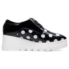 Polka Dot Lace-Up Platform Shoes ($39) ❤ liked on Polyvore featuring shoes, platform shoes, laced shoes, dot shoes, polka dot shoes and laced up shoes