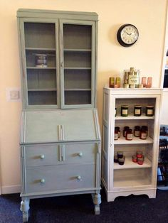 Vintage bureau painted in Vintro Chalk Paint Duck Egg Blue by RecycLD, Durham.