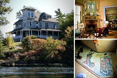 """Location: Thousand Islands, New YorkPrice: $1,495,000 Bedrooms: 8Bathrooms: n/aSquare Footage: 4,680 This house on Comfort Island (the """"Millionaire's Row"""" of the Thousand Islands Region of Alexandria Bay, N.Y.) has stayed in the original family (the heirs of industrialist Alson E. Clark) since it was built in 1883, and almost everything about the place—save for the exterior paint job and a new roof—is still the original.Holy Miss Havisham's sitting room! From the Chinoiserie murals on the…"""