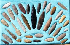 Agate Basin and Angostura projectile points and knife forms found on private… Native American Tools, Native American Symbols, Native American Artifacts, American Indian Art, Native American Indians, Indian Artifacts, Ancient Artifacts, Flint Knapping, Old Stone