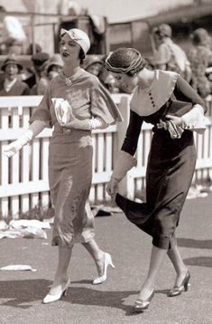 1932 Ascot Racecourse, June 1932, Margaret Whigham, later Duchess of Argyll, and friend - A day out at Ascot Racecourse is very special and dressing for the occasion is an important part of the raceday experience.