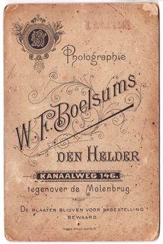 W.F.Boelsums Photo Back
