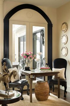 Luxuriate in the Living Room. At the lovely game table. Interior Design: Joy Tribout.