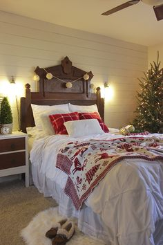 A Christmas tour through a rustic and simple master bedroom, with lots of handmade and vintage pieces.