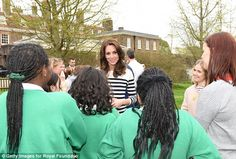 The Duchess of Cambridge chatted to school children supported by some of the charities inv...