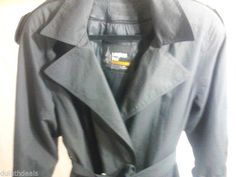 London Fog Double Breasted Black Trench Coat, Size 8