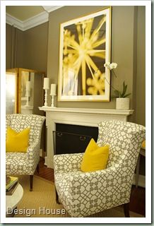 Grey+Yellow=I WANT! {Living Room Inspiration}
