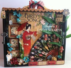 Altered tray by @LuvLee Scrappin using Bird Song! so many stunning embellishments. #graphic45