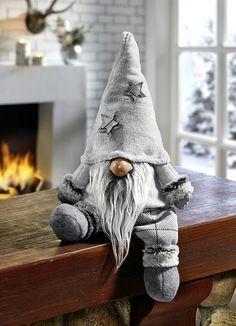 I'm loving the fur cuffs! Weihnachtliche Dekorationen - Wichtel mit einem weißen Bart