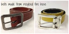 Belts Made from Recycled Fire Hose -- gift ideas for #firefighters