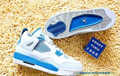 tenis de basket GS 408452-105 Azul/Branco/Cinza AIR JORDAN 4 RETRO
