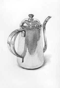 silver coffee pot drawing