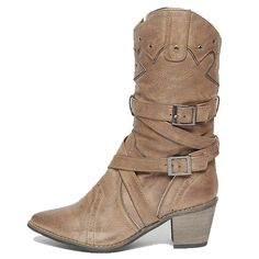 6114b61a4ba7 Epicsnob Womens Cross Buckle Mid Calf Vintage Fashion Ankle Boots Booties      Check out