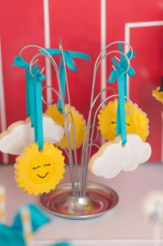 Cute sun cookies at an Annie birthday party!  See more party planning ideas at CatchMyParty.com!