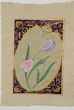 """Here is one of my last works, the name """"Tulips is, which expresses the god . Mughal Miniature Paintings, Mughal Paintings, Watercolor And Ink, Watercolor Flowers, Diy And Crafts, Arts And Crafts, Illumination Art, Letter Art, Islamic Art"""
