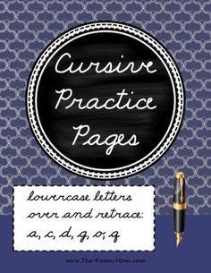 Cursive handwriting practice-- a, c, d, g, o, q (over the top then retrace)