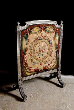 French antique Louis XVI style Aubusson fireplace screen c.1889.