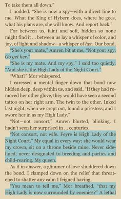 "THAT'S RIGHT, FEYRE, HIGH LADY OF THE NIGHT COURT!! I died though when Mor called her ""my High Lady"""