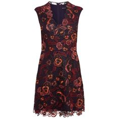 Karen Millen Floral Dress, Aubergine (£250) ❤ liked on Polyvore featuring dresses, floral lace dress, v neck maxi dress, maxi dress, lace sleeve dress and mini dress