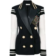 Faith Connexion embellished double breasted blazer (€2.480) ❤ liked on Polyvore featuring outerwear, jackets, blazers, blazer, jacket's, blue, embellished blazer, double breasted blazer, blue blazer and faith connexion blazer