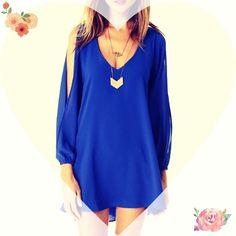 "Spotted while shopping on Poshmark: ""Blue Chiffon Tunic Dress""! #poshmark #fashion #shopping #style #Dresses & Skirts"