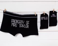 Personalised Groom Gift Set, Socks & Underwear, Property of Personalized Wedding Present, Gift for the Groom from the Bride, Valentine's Day by ThePersonalWeddingCo on Etsy https://www.etsy.com/listing/487504475/personalised-groom-gift-set-socks