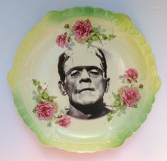 Frankenstine portrait on an Antique Plate - $110 from beatupcreations.etsy.com