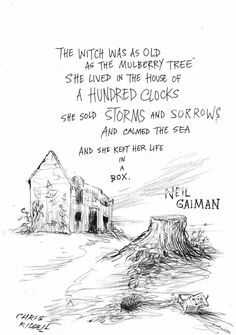 Beautiful art to accompany a beautiful poem. Witch Work by Neil Gaiman, art by Chris Riddell.  #witch #pagan #poetry #art #beauty #books