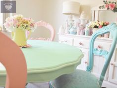 shabby chic pastel colours by luv my stuff in sugar paint ,  pretty paint see our facebook   and www.luvmystuff.com.au