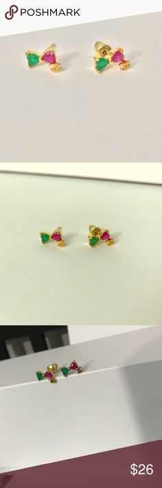Gold plated Earrings - Bow earrings Even prettier in person. Box is for display purpose only! Jewelry Earrings