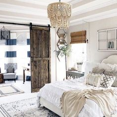 20 Charming Farmhouse Bedroom Decor Ideas You Can Copy - bedroom decor idea with a beaded chandelier. Looking to revamp your bedroom in the farmhouse style? Here are 20 charming and cozy farmhouse bedroom ideas for your inspiration. Farmhouse Bedroom Furniture, Modern Farmhouse Bedroom, Farmhouse Style Kitchen, Modern Farmhouse Kitchens, Modern Bedroom, Home Furniture, Furniture Ideas, Furniture Stores, Farmhouse Decor