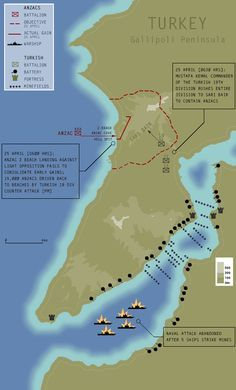 Map of the Gallipoli Peninsula detailing the events of 25 April 1915 Ww1 History, World History, Military History, Gallipoli Campaign, Anzac Cove, Anzac Day, World War One, Ottoman Empire, Interesting History