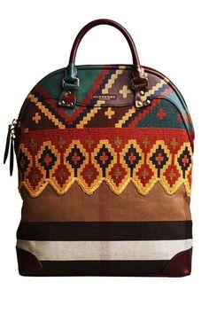 Collezione Borse Burberry Prorsum autunno inverno 2014-2015 - Handbag con decorazioni tribali multicolor