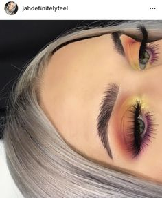 Glitter neutral make up glam look  cut crease sunset orange red brown yellow