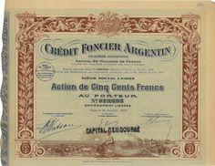 Credit Foncier Argentin - #scripomarket #scriposigns #scripofilia #scripophily #finanza #finance #collezionismo #collectibles #arte #art #scripoart #scripoarte #borsa #stock #azioni #bonds #obbligazioni