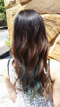 I've been wanting to add color to my hair for forever! I am so happy I finally got it done! I love the blue peekaboo highlights! This is honestly the best thing I've ever done to my hair!