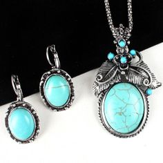 Turquoise Cracked Stone Southwestern Butterfly Necklace Earring Set $6.99