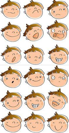 Emotions cartoon faces.
