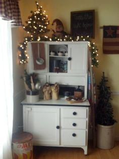 Primitive Christmas hoosier cabinet