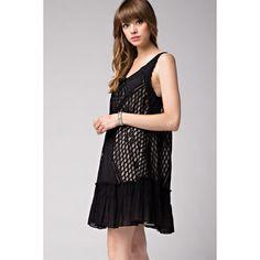 Black Lace trimmed Ruffle Dress