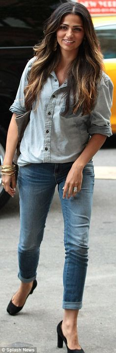 Making denim-on-denim chic: Camila Alves appeared stylish in her matching jean ensemble as she stepped out in NYC on Monday