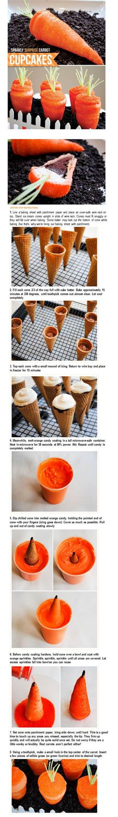 SPARKLING CARROT CUPCAKES – Ice Cream Cones (12); Chocolate Cake Batter (made from mix or from scratch); Buttercream Icing (store bought or homemade); Orange Candy Melts (2 packs); Orange Sprinkles (2 jars); Green Edible Candy Grass. No tray, use tin foil bunch loosely around cone bottom or try upside down foil cupcake tray with holes to support cake.